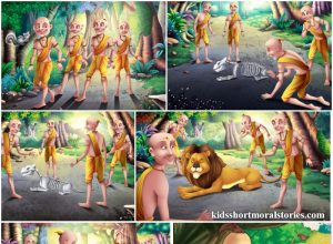 The Four Friends and The Dead Lion Panchatantra Story with pictures